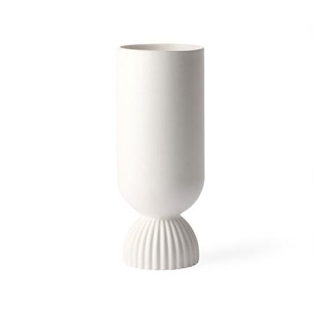 Flower Ceramic Vas Ribbed bas White