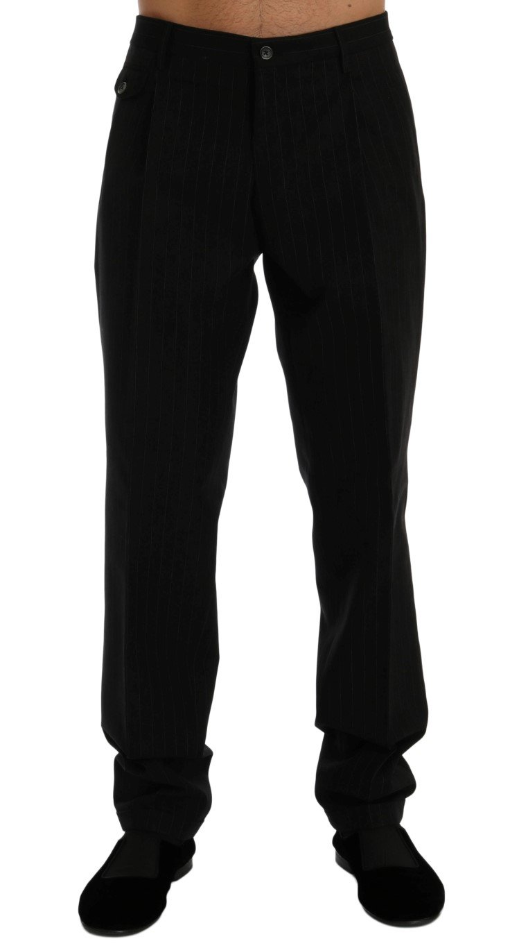 Dolce & Gabbana Men's Striped Cotton Dress Formal Trouser Black PAN60353 - IT50   L