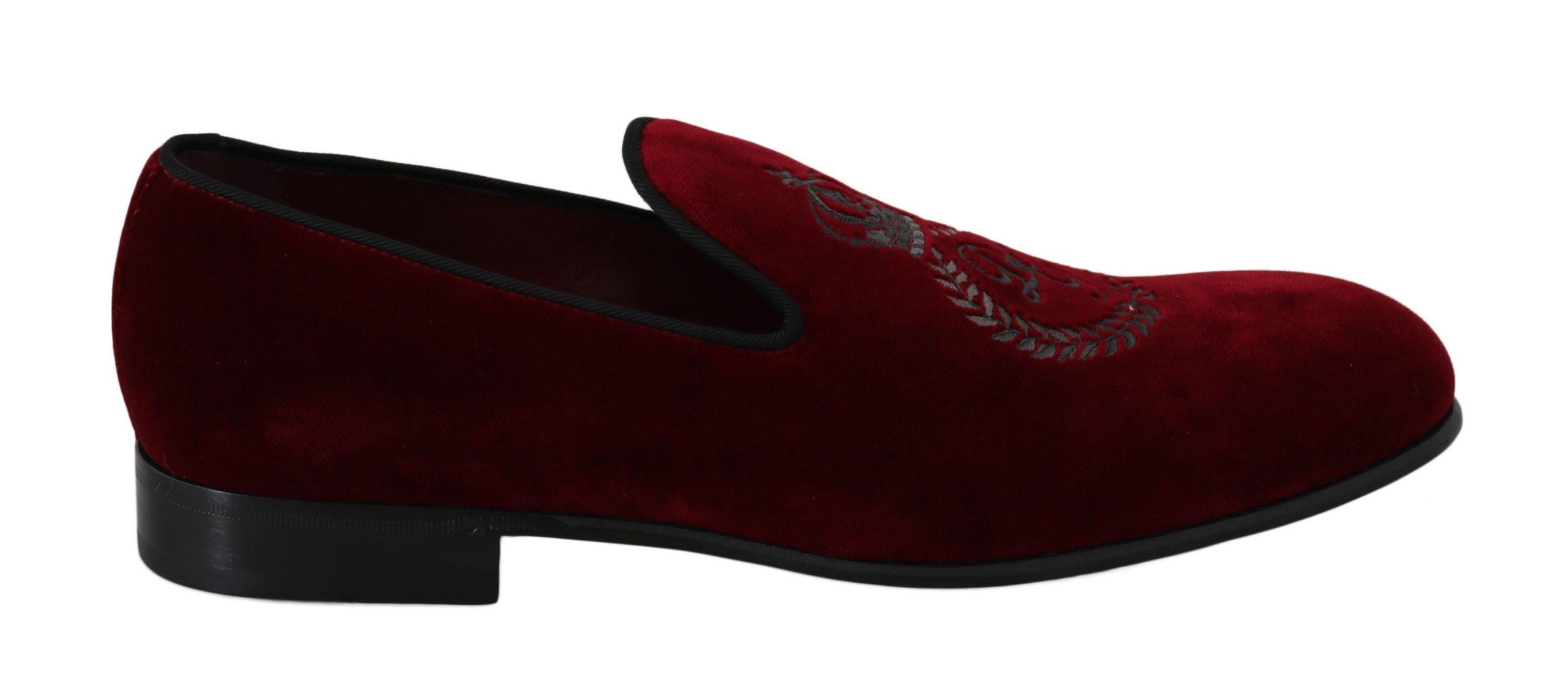 Dolce & Gabbana Men's Velvet Crown Embroidered Loafers Red MV2342 - EU41.5/US8.5