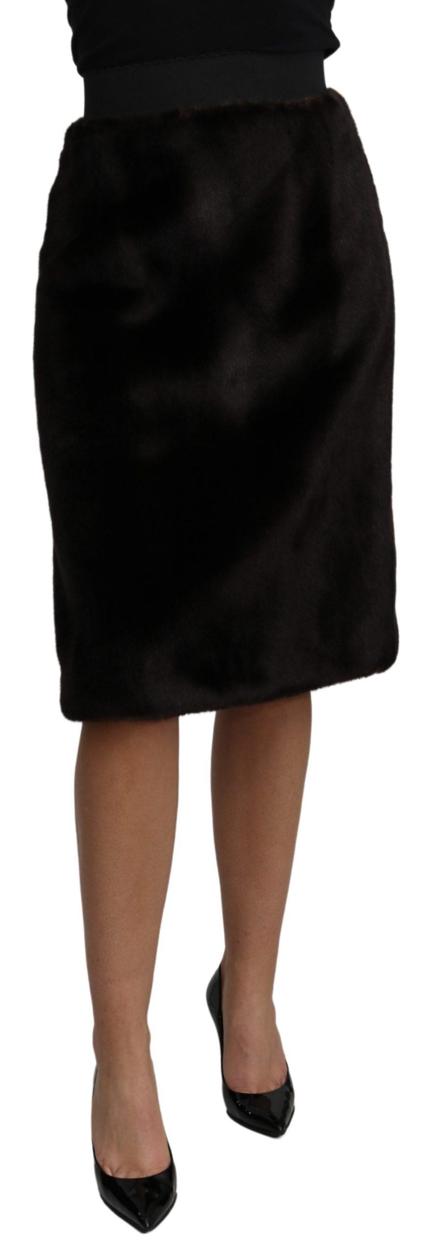 Dolce & Gabbana Women's High Waist Pencil Cut Knee Length Skirt Black SKI1473 - IT40|S