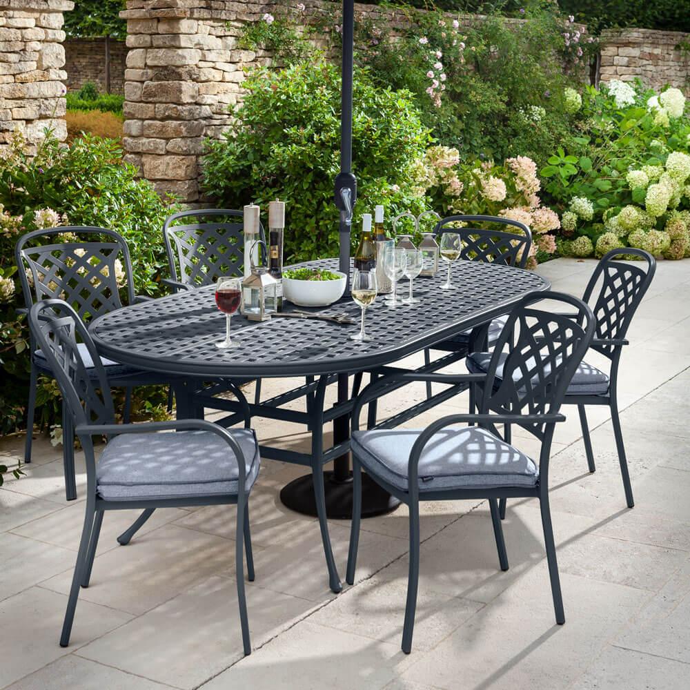 2021 Hartman Berkeley 6 Seat Garden Dining Set With Oval Table & Parasol - Antique Grey/Platinum