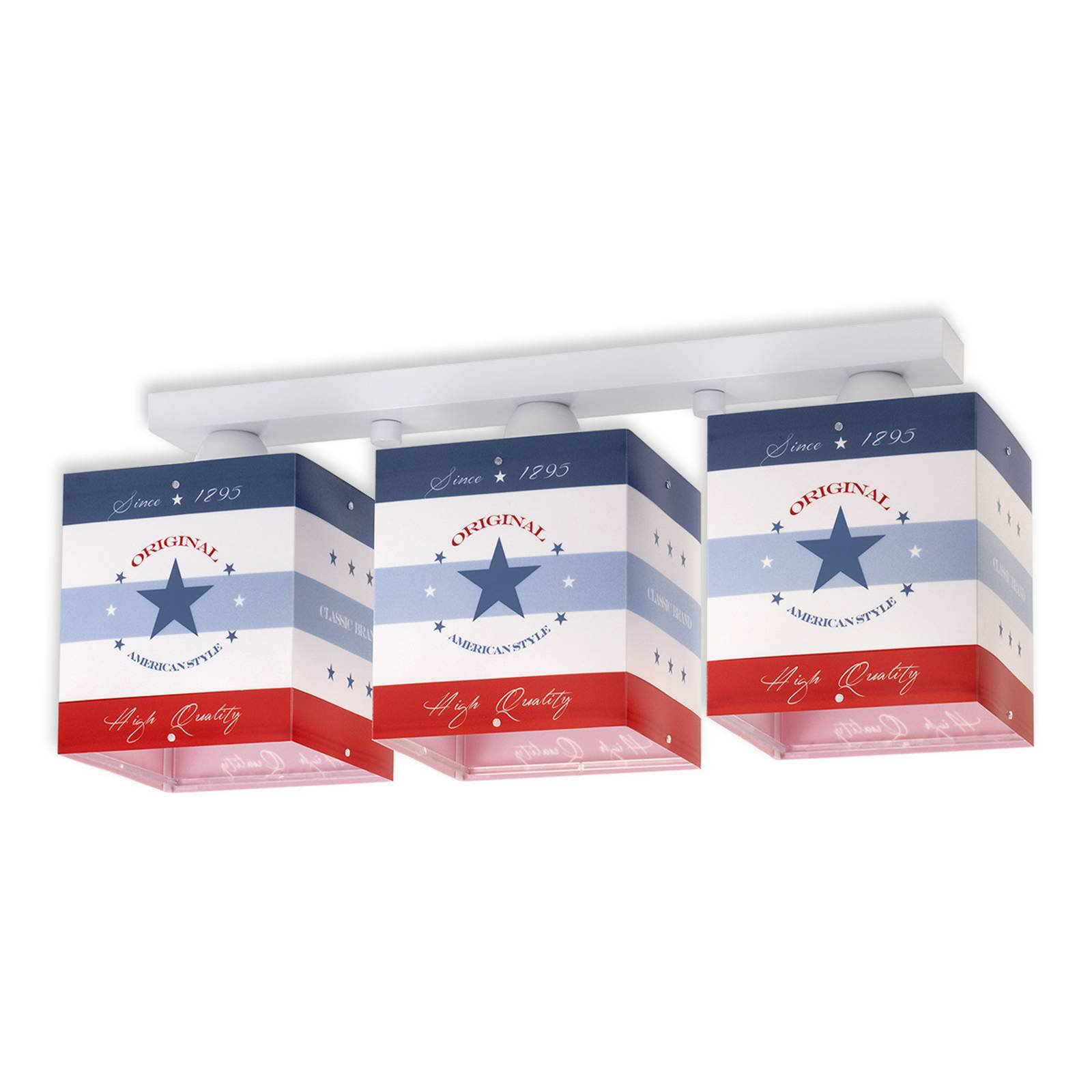 Stripete taklampe American Style, 3 lyskilder
