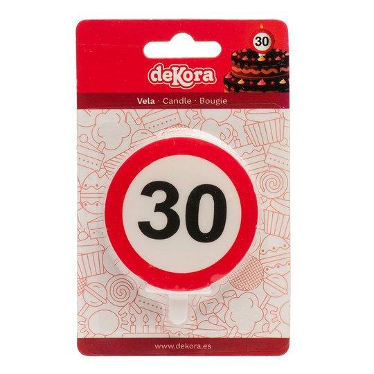 Tårtljus Trafikskylt - 30