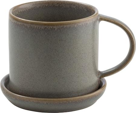 Kaffekopp med fat - Grå