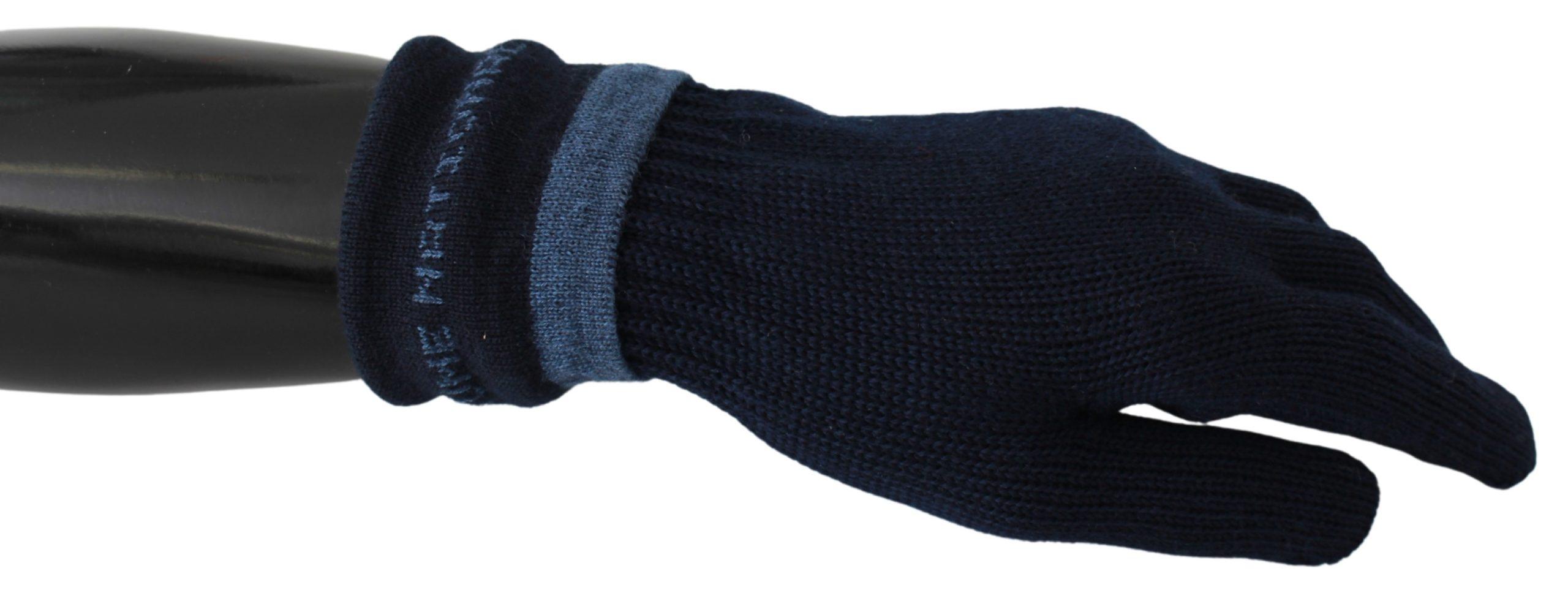 Costume National Men's Elastic Wrist Mitten Gloves Navy Blue LB1008BG