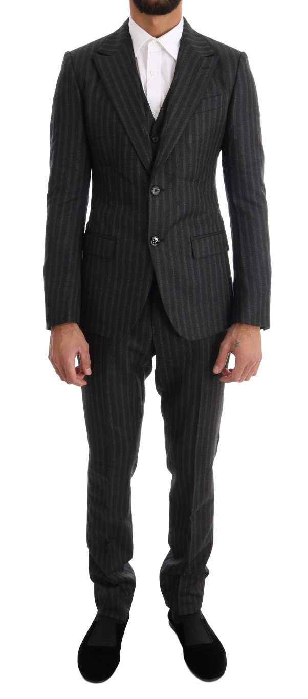 Dolce & Gabbana Men's Striped Two Button 3 Piece Suit Gray KOS1076 - IT44 | XS