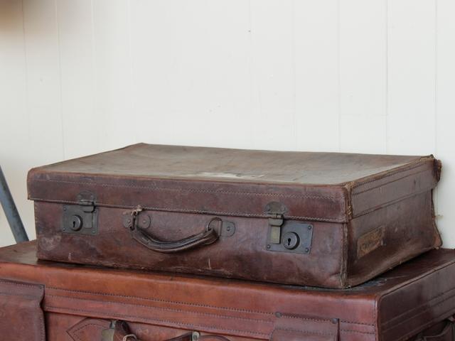 Distressed Vintage Leather Suitcase Medium