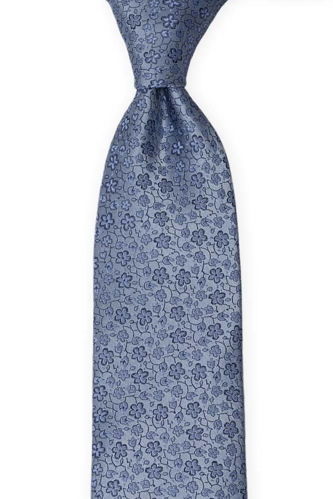 Silke Slips, Støvblått med små, medium blå blomster, Blå, Små blomster