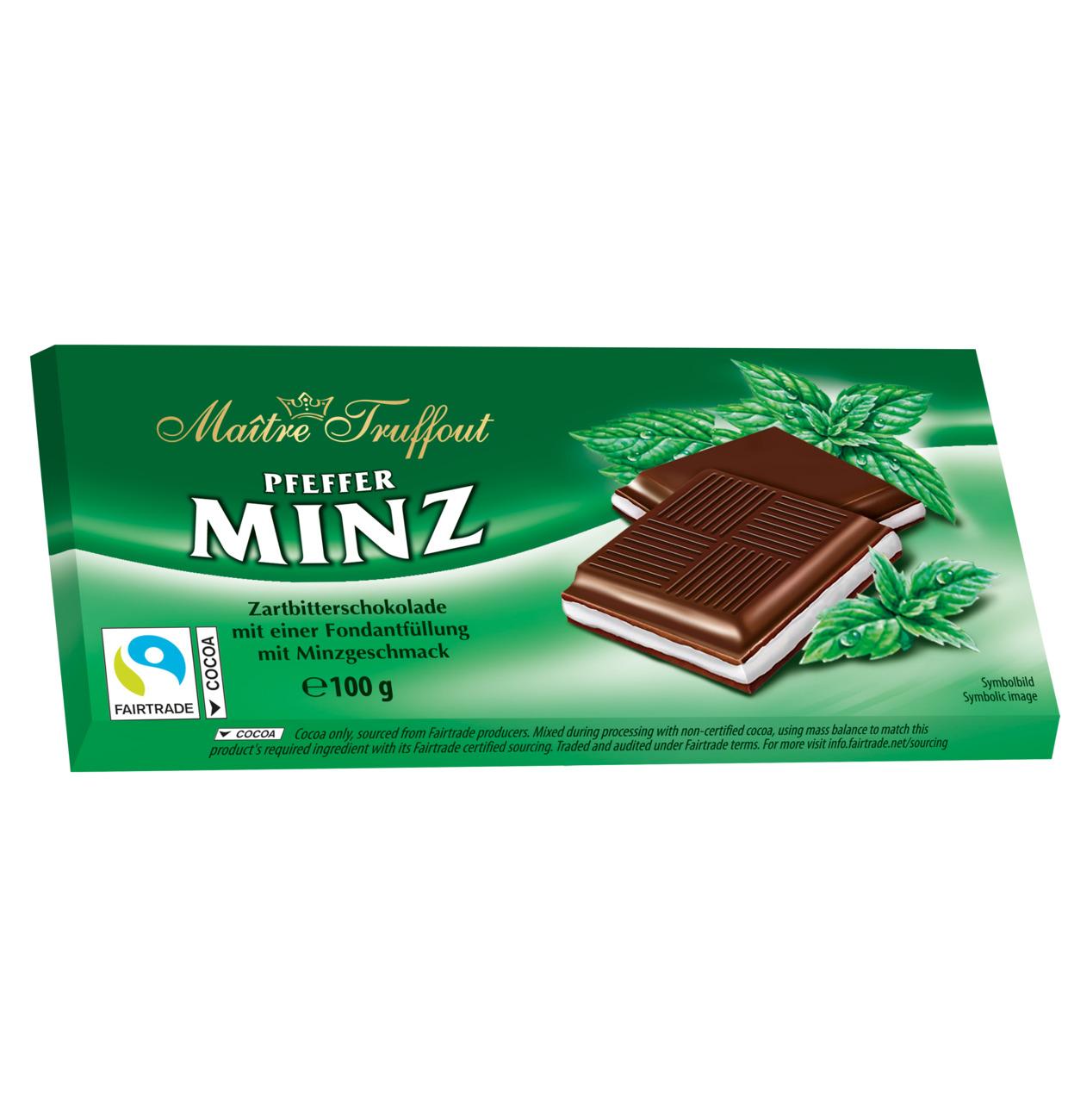 Maitre Truffout Mörk choklad m. Pepparmintkräm 100g