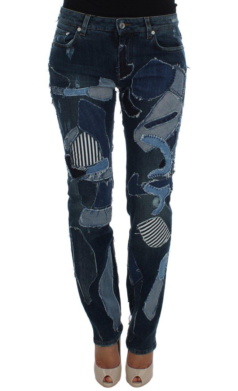 Dolce & Gabbana Women's Cotton Stretch Patchwork Denim Jeans Blue SIG20039 - IT38 XS