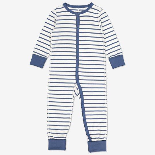 Stripet hel pyjamas baby blå