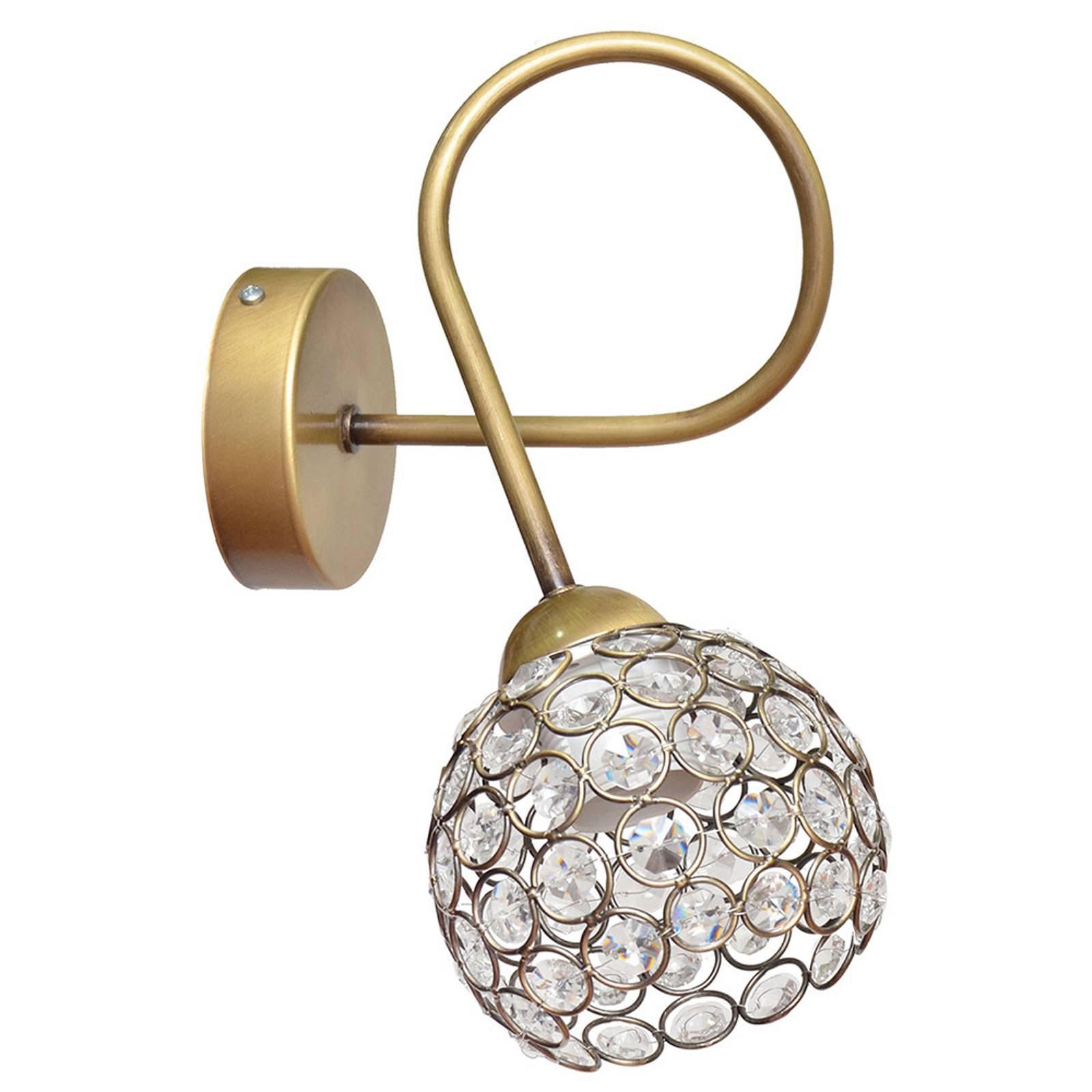 Vegglampe Oxford i gull med krystaller