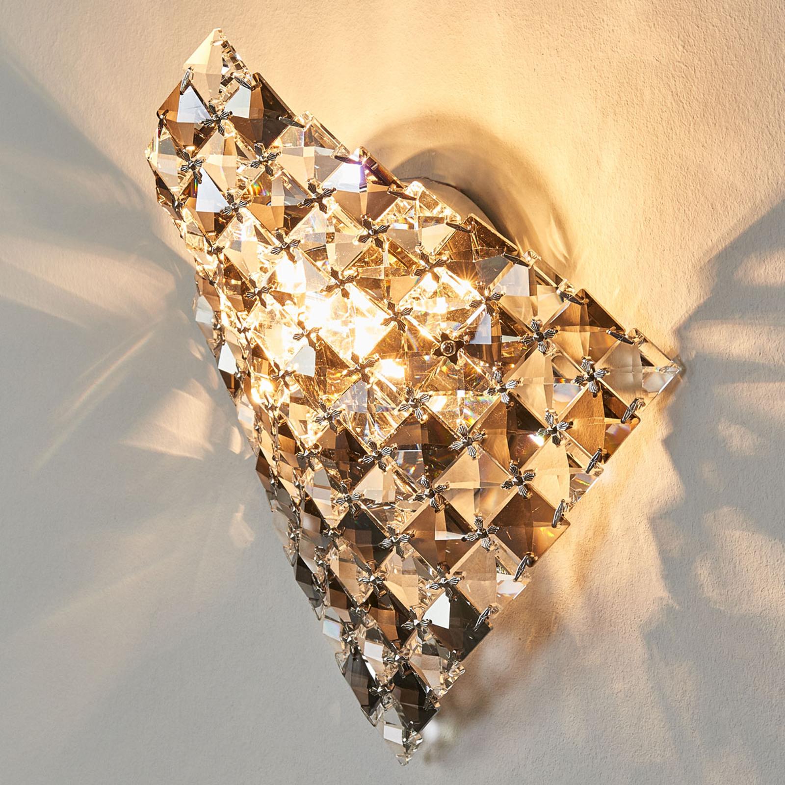 Tyylikäs, kristallinen Saten-seinävalaisin, 25 cm