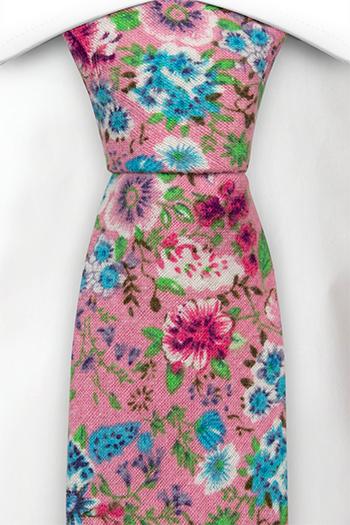 Bomull Slips, Rosa, blå, lilla & grønne blomster på rosa, Rosa, Blomstrete