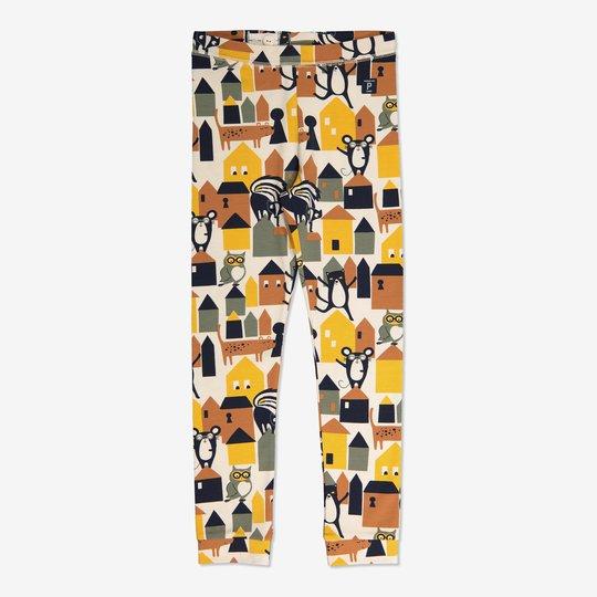Bukse med storbytrykk gul