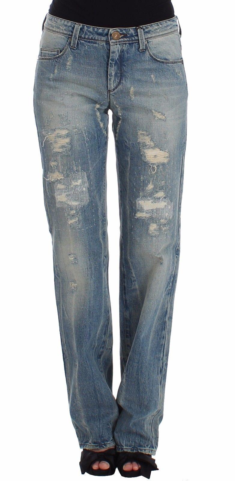Ermanno Scervino Women's Distressed Boyfriend Jeans Blue SIG12472 - W26