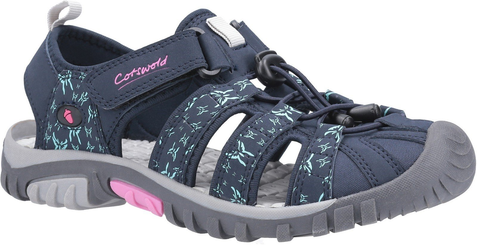 Cotswold Women's Sandhurst Touch Fastening Sandal Various Colours 30143 - Navy/Pink 3