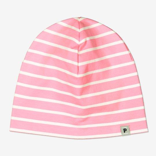 Stripet lue med p-applikasjon rosa