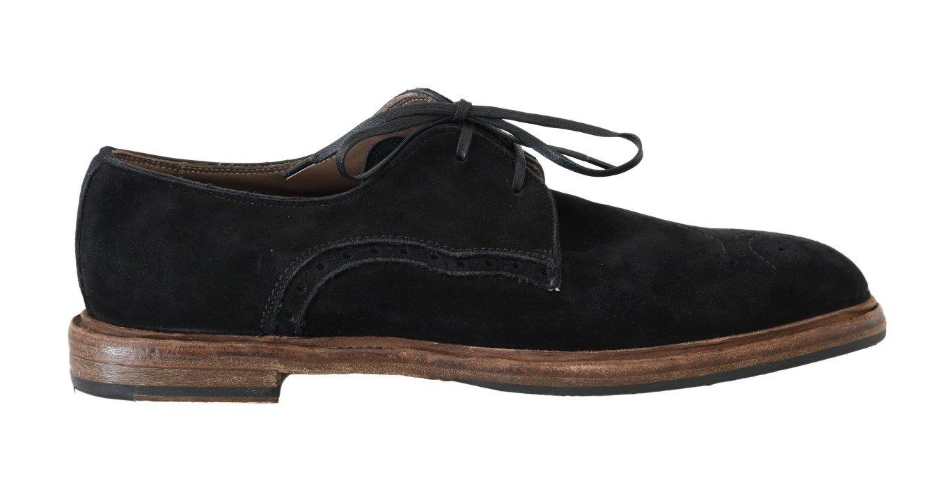 Dolce & Gabbana Men's Suede Leather Formal Derby Shoe Black MV1669 - EU39/US6