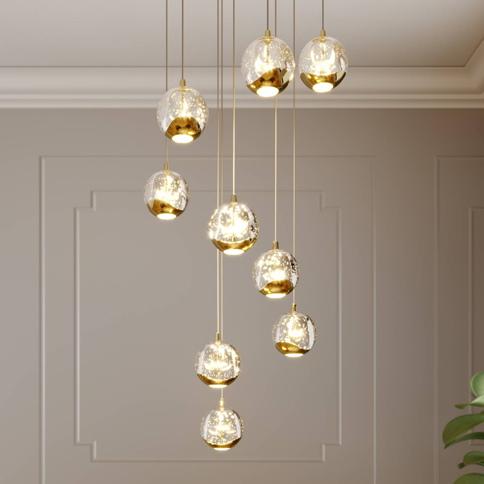 Lucande Hayley -LED-riippuvalo, 9-lamp., kulta