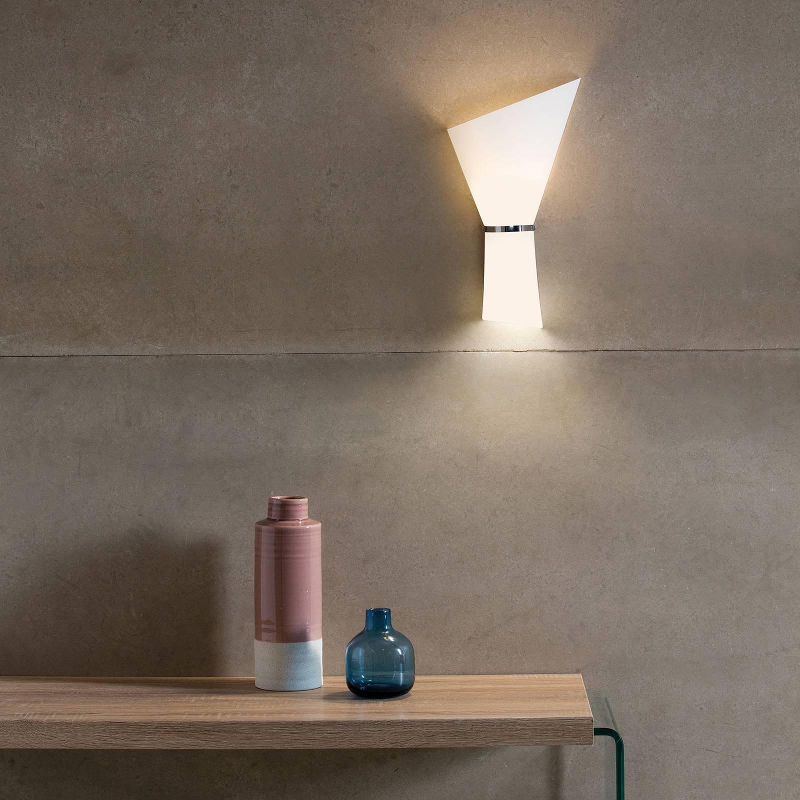 Vegglampe Perla, 2 lyskilder, opal/krom