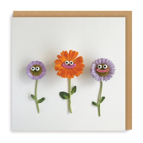 Flowers With Faces Square Greeting Card