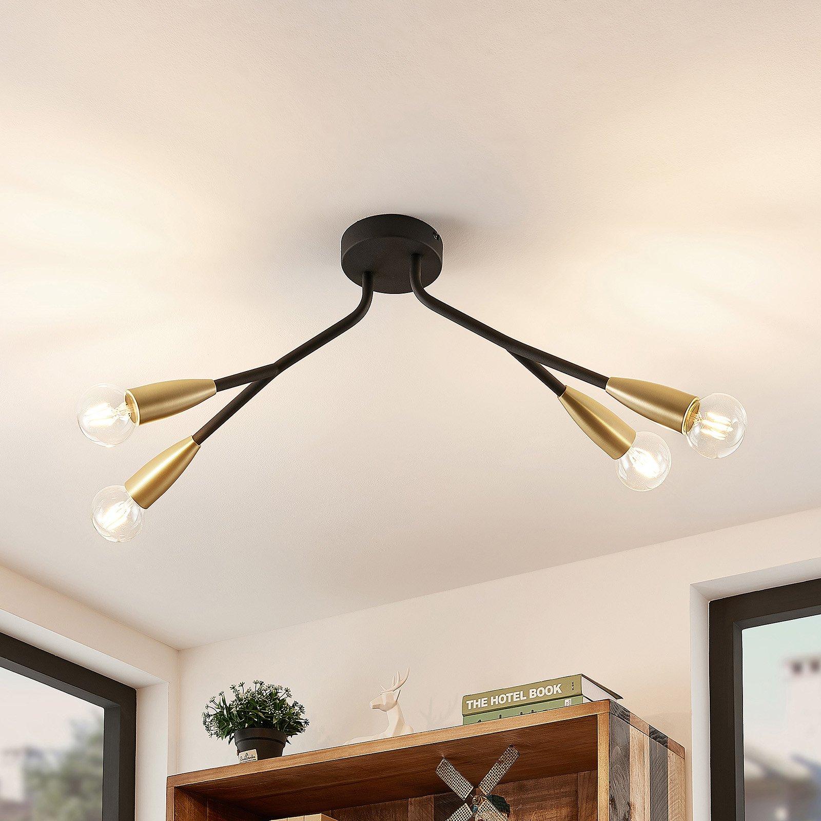 Lucande Carlea taklampe, 4 lysk. svart messing