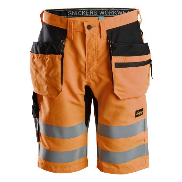 Snickers 6131 LiteWork Arbeidsshorts varsel, oransje C42