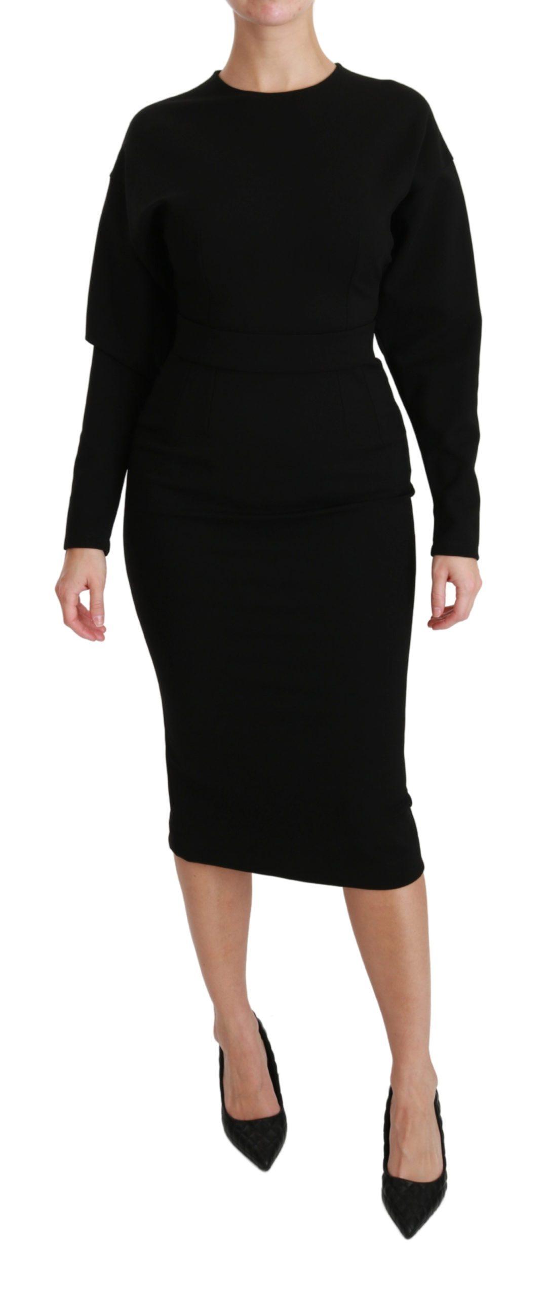 Dolce & Gabbana Women's Sheath Midi Stretch Dress Black DR2543 - IT40 S