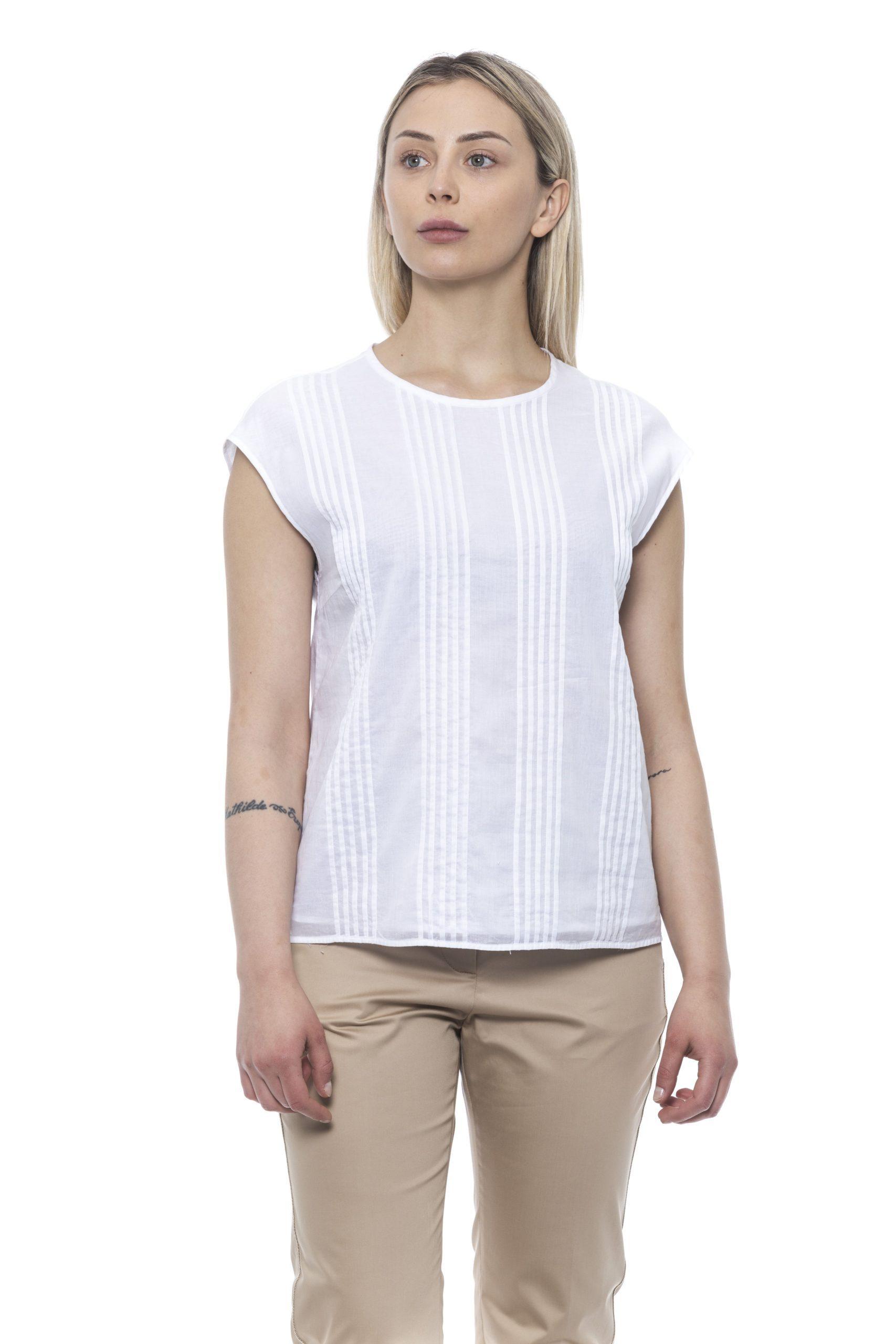 Peserico Women's Bianco Tops White PE1426881 - IT42   S