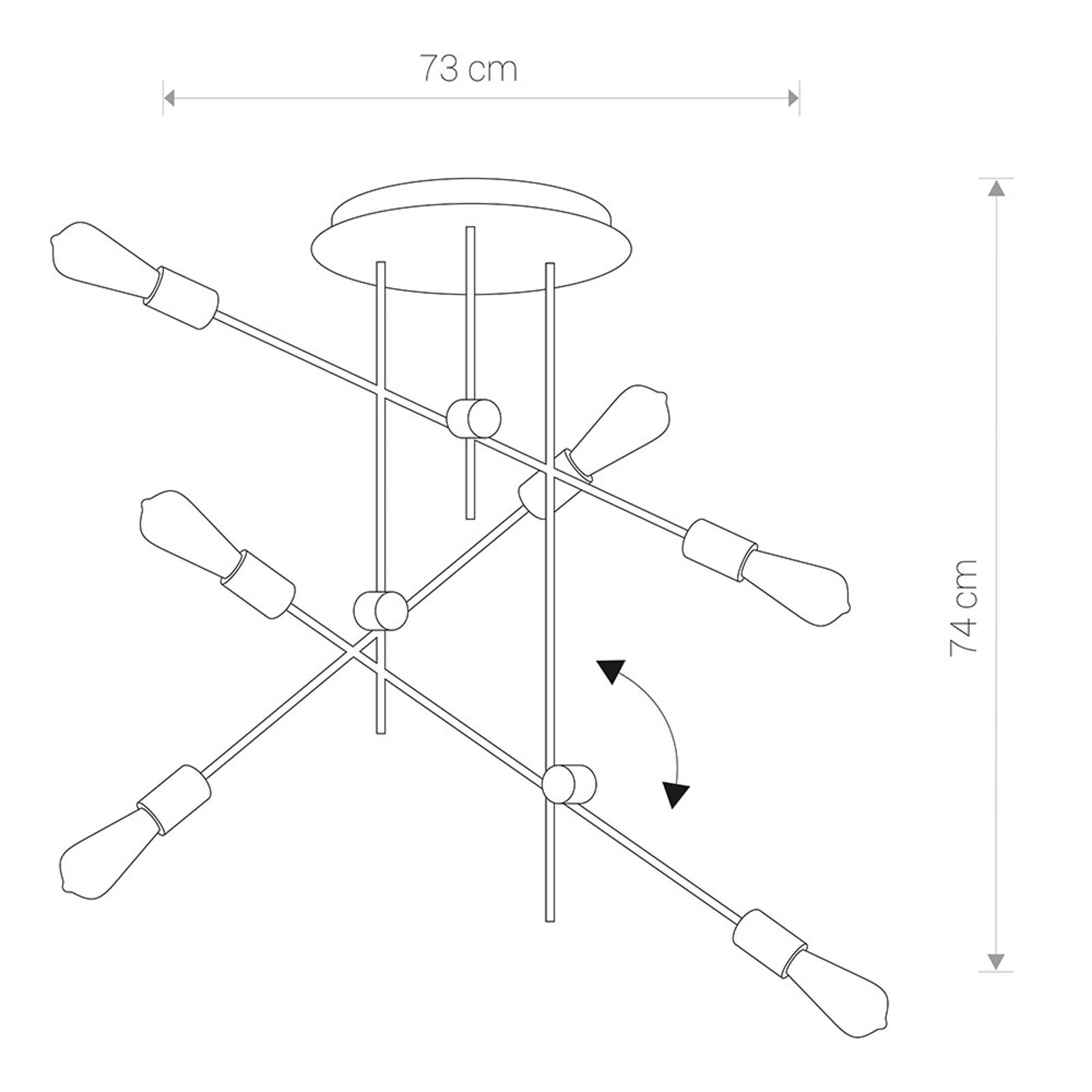 Riippuvalaisin Axis, pyöreä, nivelletty, 6-lamppua