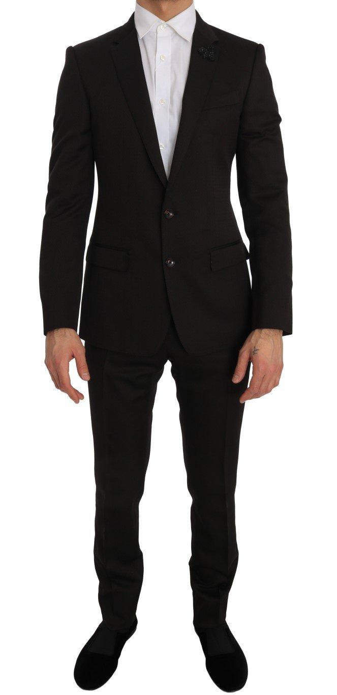 Dolce & Gabbana Men's Wool Crystal Bee Slim Fit MARTINI Brown JKT1233 - IT46   S