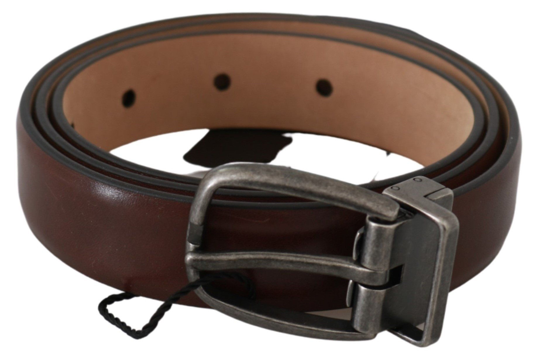 Dolce & Gabbana Men's Leather Oval Buckle Belt Brown BEL60626 - 85 cm / 34 Inches