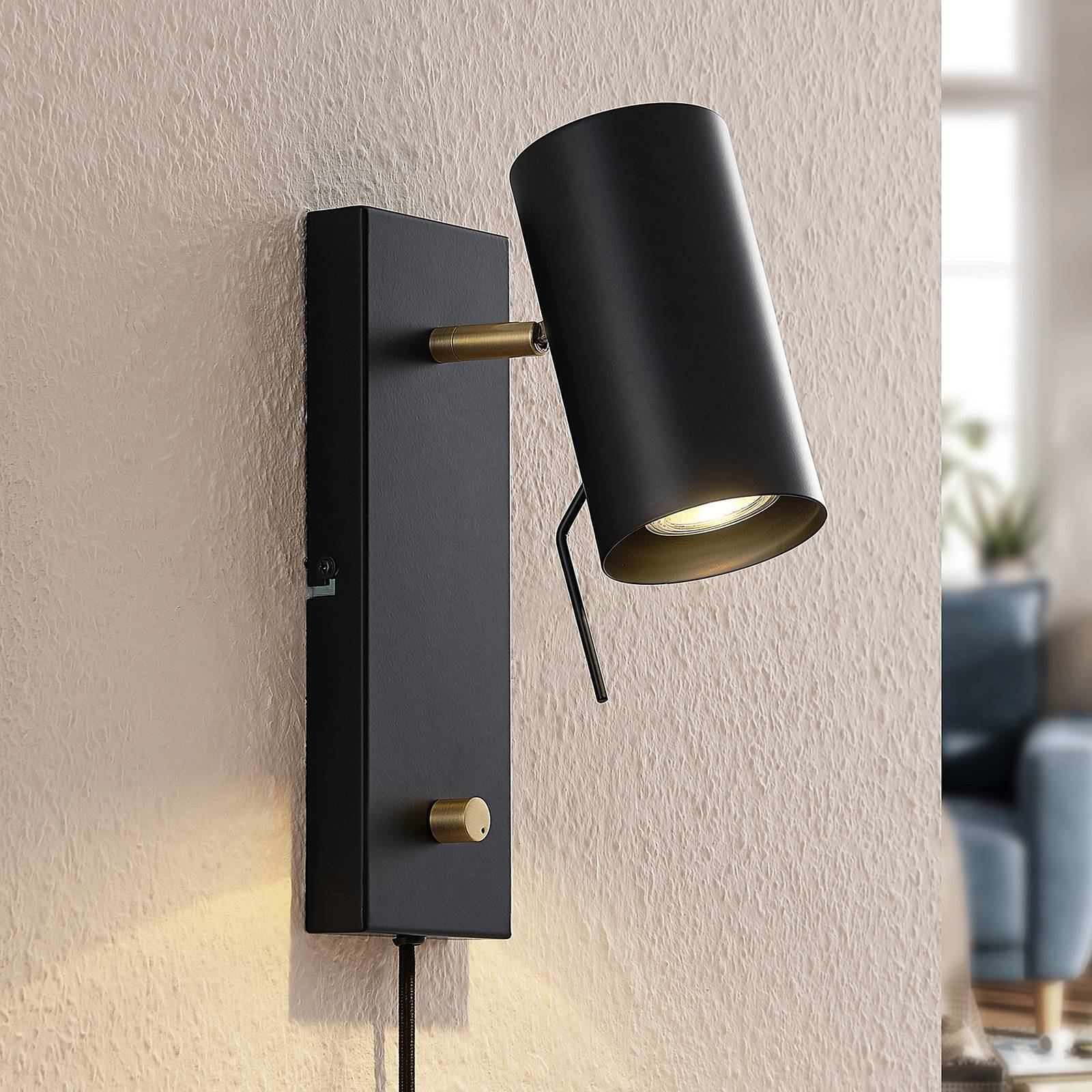 Lindby Georgios -LED-seinäspotti, musta