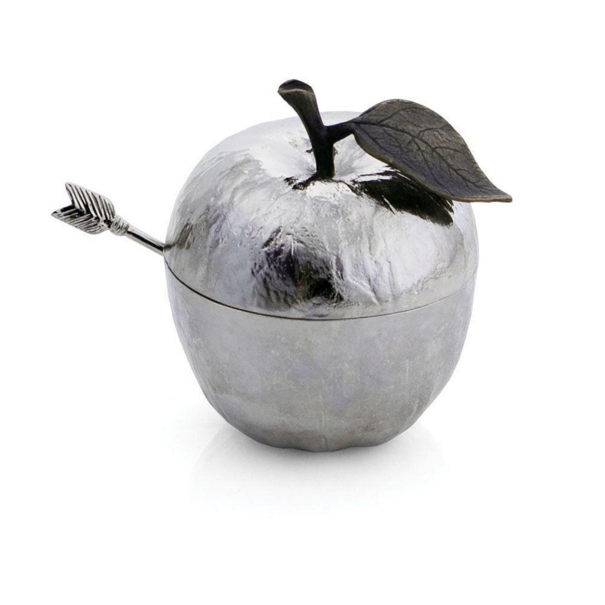 Michael Aram I Apple Honey Pot w/ Spoon I Nickelplate