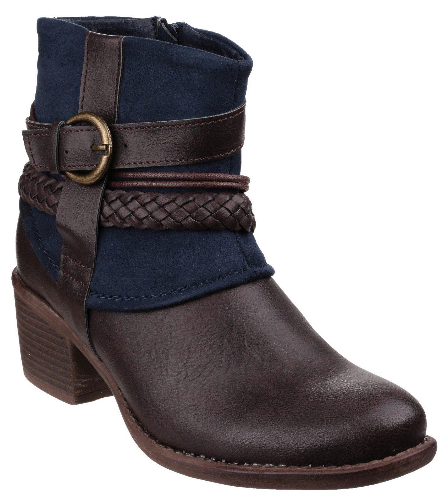 Divaz Women's Vado Zip Up Ankle Boot Brown 22807-37232 - Navy 8