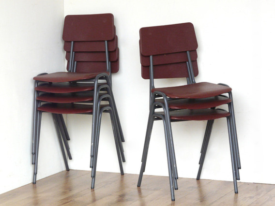 Retro School Chairs By Remploy Brown Medium