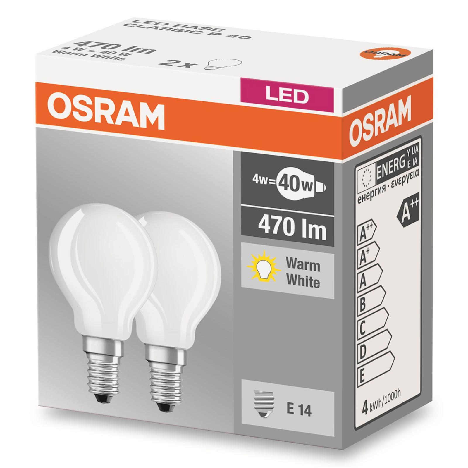 E14 4W 827 LED-pisaralamppu matta 2 kpl:n setti