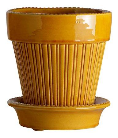 Simona Potte med fat Glazed Yellow Amber 18 cm