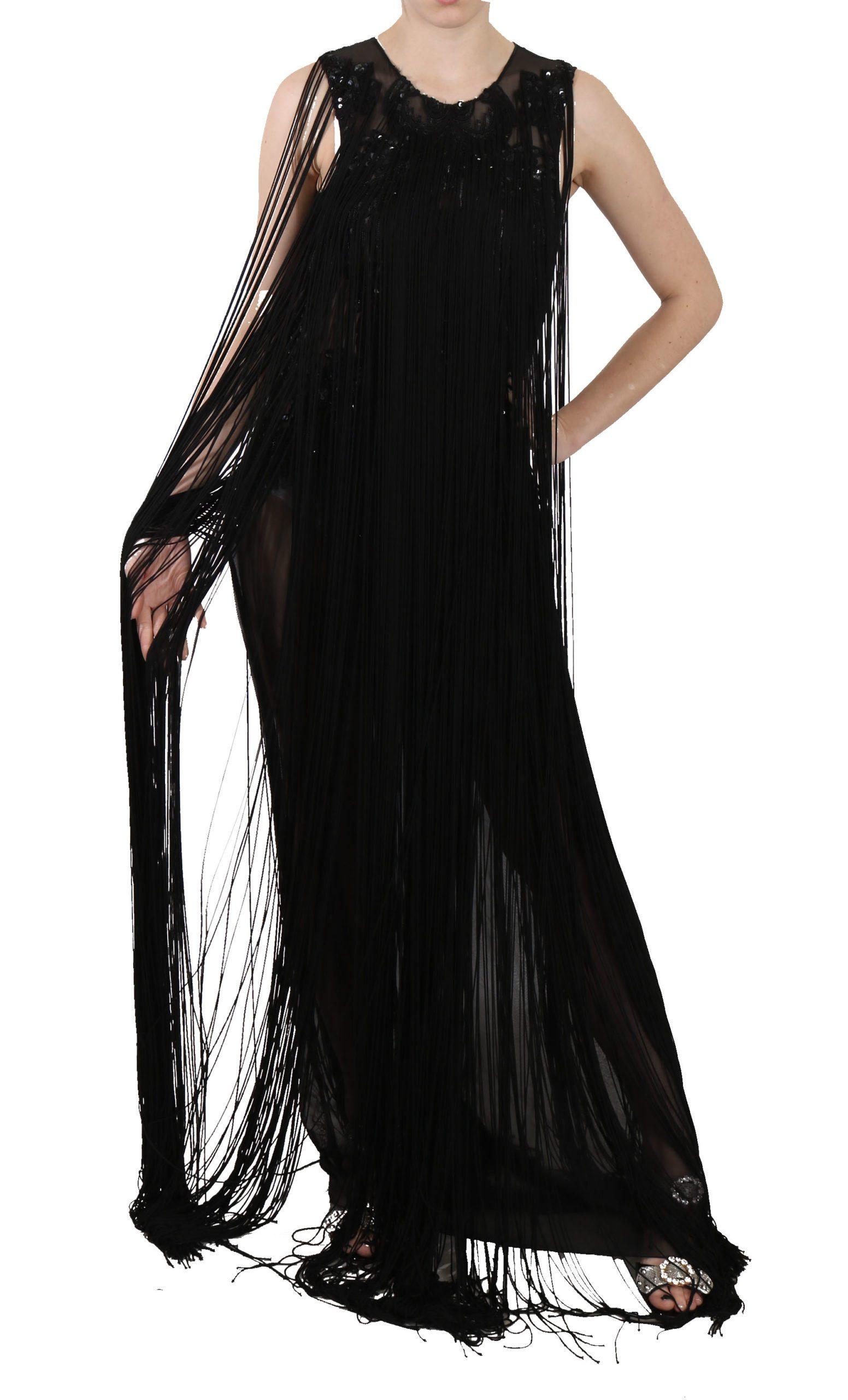 John Richmond Women's Silk Beaded Sequined Sheer Dress Black DR1682 - IT42|M
