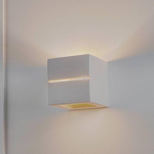 Vegglampe Keramik Top, hvit, 15 x 15 cm