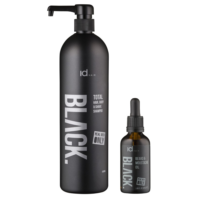 IdHAIR - Black Shampoo Total 3 in 1 1000 ml + Black Beard Oil 50 ml