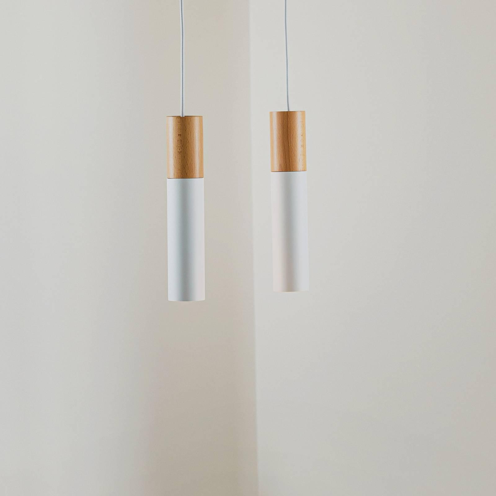 Riippuvalaisin Tube, puu, valkoinen, 2-lamppuinen