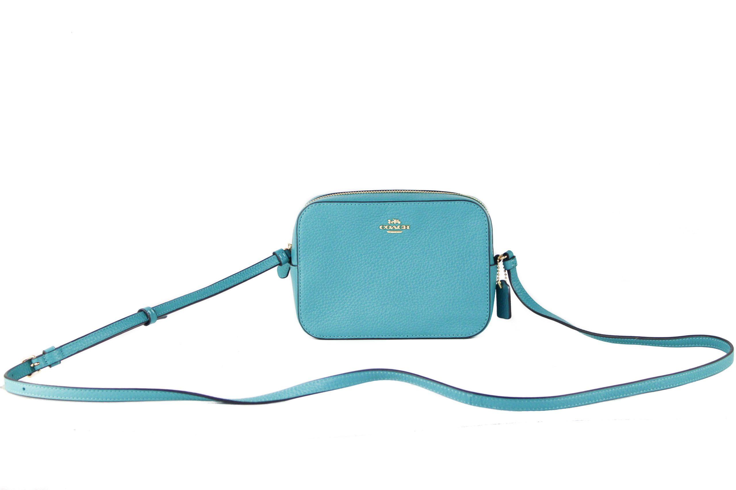 COACH Women's Canvas Leather Crossbody Bag Teal 64064