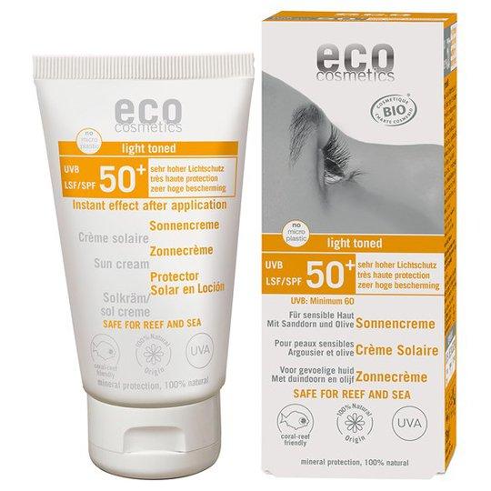 Eco Cosmetics Ekologisk Solkräm SPF 50+ lätt tonad, 75 ml