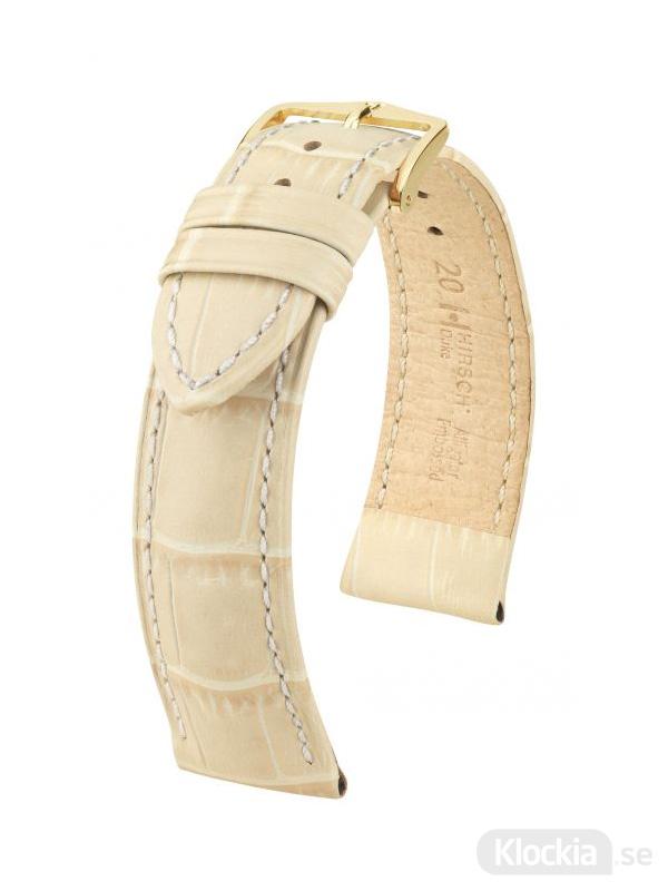 Klockarmband Hirch Duke 12mm Medium Beige-Guld