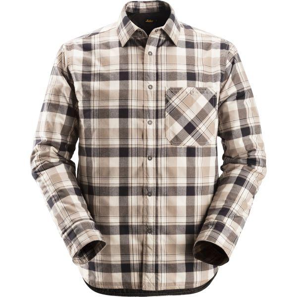 Snickers 8501 RuffWork Flanell skjorte foret, svart / khaki XS