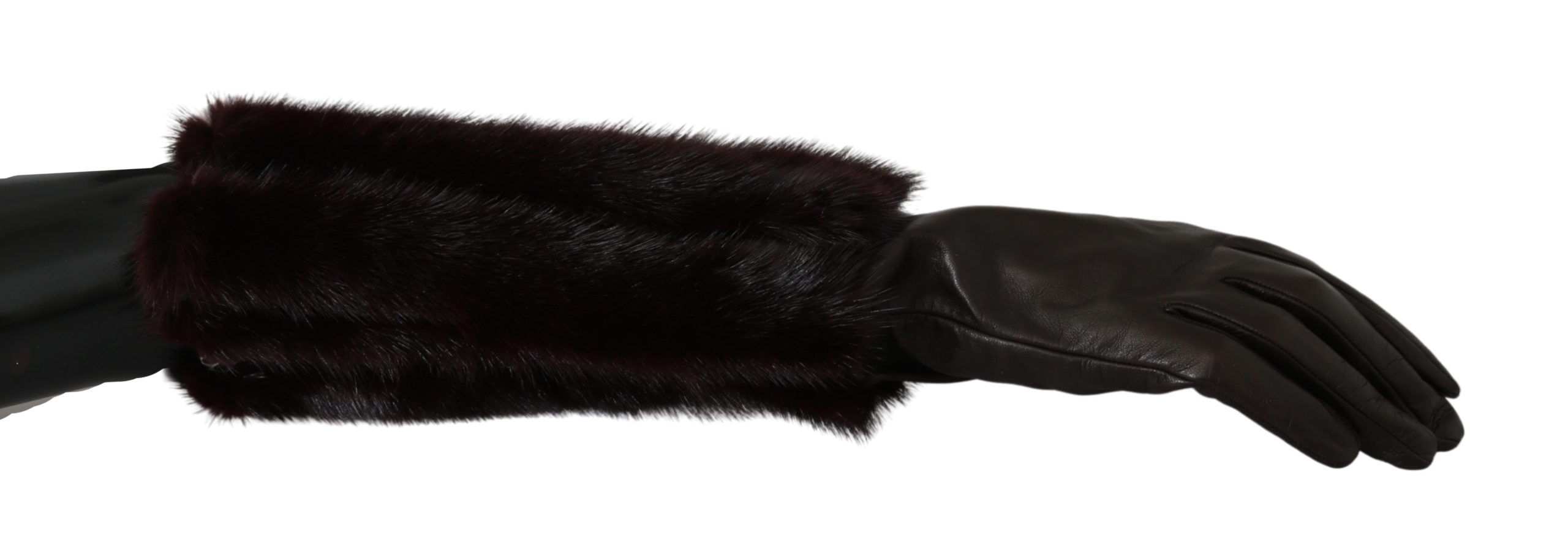 Dolce & Gabbana Women's Mid Arm Length Leather Fur Gloves Brown LB1007 - 7.5|S