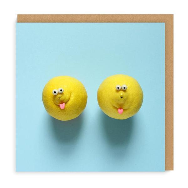 Lemon Faces Square Greeting Card