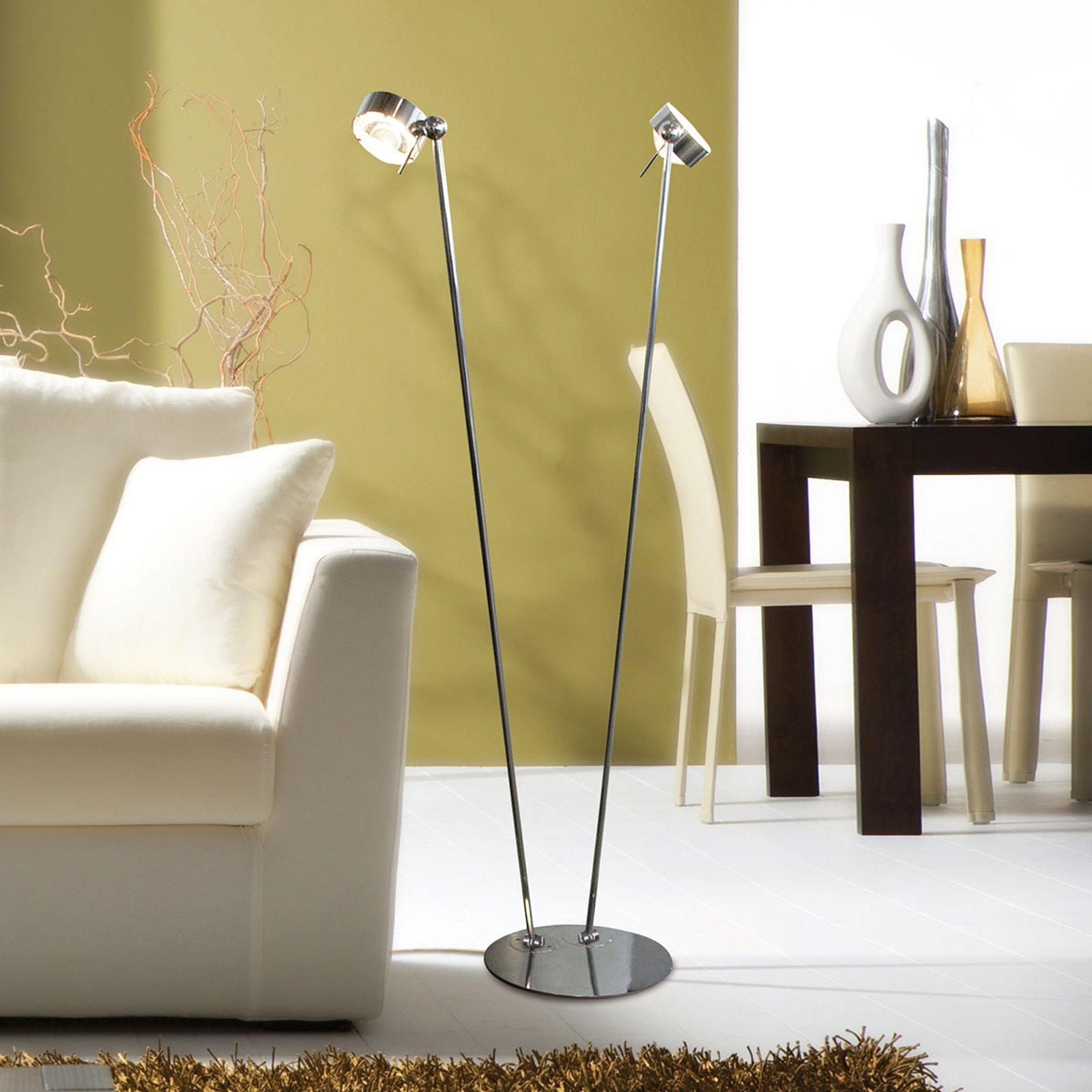 Bevegelig stålampe PUK FLOOR matt krom